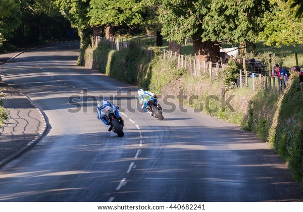 ISLE OF MAN, UK - MAY 28 2016: Riders racing on public roads in the annual TT (Tourist Trophy) (Public Event)
