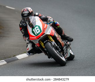 ISLE OF MAN, UK - MAY 30: A rider undertakes their first official practice laps of the annual TT (Tourist Trophy) race on 30 May 2015 in the Isle of Man (Public Event)