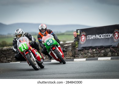 ISLE OF MAN, UK - MAY 30: Riders in the Southern 100 motorcycle singles race, the Pre TT Classic Road Race undergoing practice on 30 May 2015 in the Isle of Man (Public Event)