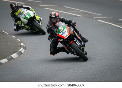 ISLE OF MAN, UK - MAY 30: 2 riders undertake their first official practice laps of the annual TT (Tourist Trophy) race on 30 May 2015 in the Isle of Man (Public Event)