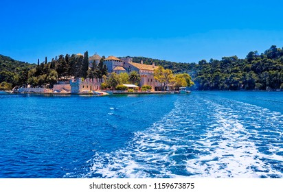 The Isle of Saint Mary with ruins of  Benedictine monastery,  Mljet National Park, Croatia