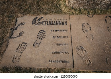 Isle of Skye, Scotland - March 19, 2018: Ceumannan Staffin Ecomuseum plate on Isle on Skye. Ecomuseum is open air and has thirteen sites and three information points.