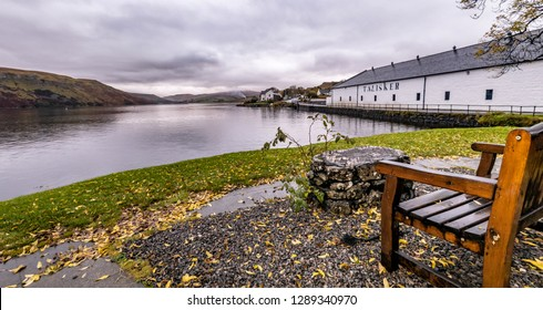ISLE OF SKYE / SCOTLAND - OCTOBER 10 2018: Talisker distillery is an Island single malt Scotch whisky distillery based in Carbost, Scotland on the Isle of Skye