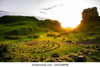 Isle of Skye, UK, August 2019 Fairy Glen sunset