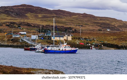 Isle of Ulva Ferry and Community Pontoon on the Isle of Mull, Argyll, Inner Hebrides, Scotland, UK, Landscape. April 12, 2018. Ulva is subject to a Community Buyout bid in 2018