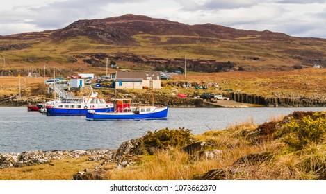 Isle of Ulva, Island of Mull, Scotland, UK. April 15, 2018 The Isle of Ulva Ferry, Isle of Mull, Inner Hebrides,  Scotland, UK is subject to a community buyout bid