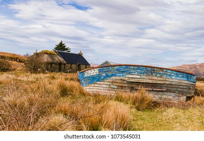 Isle of Ulva, Mull, Scotland, UK. April 12 2018 is part of a Community Buyout.  Ulva is a small island off the Isle of Mull in the Inner Hebrides, Scotland.  It has a cafe known as the Boathouse.