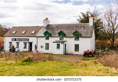 Isle of Ulva, Scotland, UK April 15, 2018 The Boathouse Cafe is located on the Isle of Ulva, off the Isle of Mull on the West Coast of Scotland.  The island is subject to a community buyout