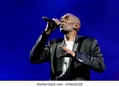 Isle of Wight Festival - June 10 2016: Maxi Jazz  with Faithless performing  on the main stage at I.o.W Festival, Newport, Isle of Wight, June 10, 2016 on the Isle of Wight, UK