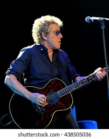 Isle of Wight Festival - June 8 2016: Roger Daltrey, lead singer and guitarist of The Who,  performing on the main stage at I.o.W Festival, Newport, Isle of Wight, June 8, 2016 in Isle of Wight, UK
