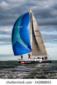 ISLE OF WIGHT - JUNE 1st: The annual JP Morgan Asset Management, Round the Island yacht race took place off the south coast of England, attracting some 1400 entrants on 1st June 2013.