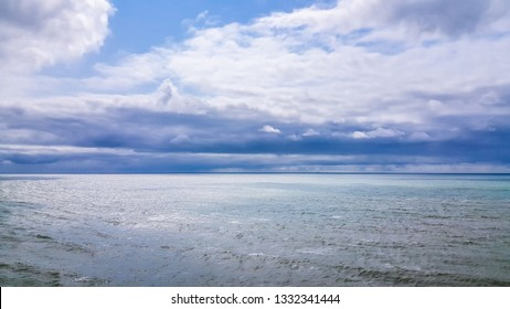Isle of Wight, United Kingdom - August 28, 2018:  sea view with a sky clearing after a storm