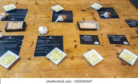 Isle of Wight, United Kingdom - August 28, 2018:  Tasting table with various sorts of garlic at Garlic Farm, populat toutist destination