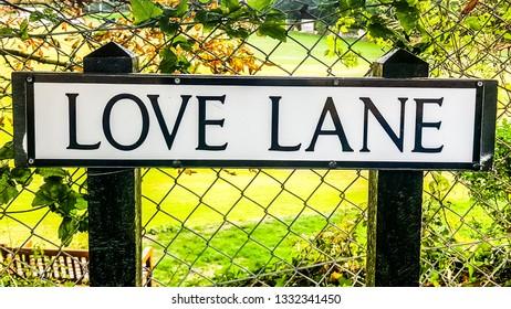 Isle of Wight, United Kingdom - August 28, 2018:  Love lane street sign