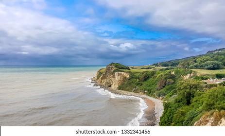 Isle of Wight, United Kingdom - August 28, 2018:  beautiful coastal view, popular hiking route near Niton