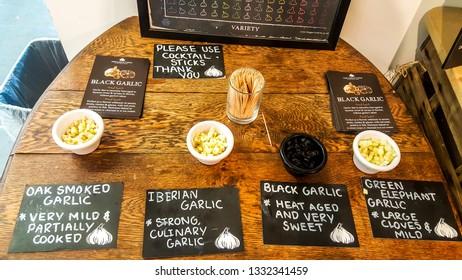 Isle of Wight, United Kingdom - August 28, 2018:  Tasting experience at Garlic Farm, populat toutist destination