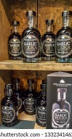 Isle of Wight, United Kingdom - August 28, 2018: Garlic Vodka at Garlic Farm, populat toutist destination