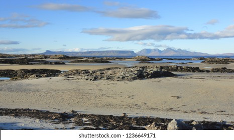Isles of Eigg and Rum from Invercaimbe in Arisaig.