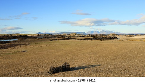 Isles of Eigg and Rum from Invercaimbe at Arisaig in Lochaber in the Scottish Highlands.
