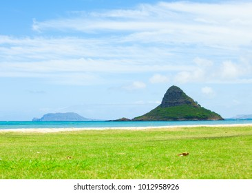 Islet of Mokoli'i, known as Chinaman's Hat, near Kaneohe at Kualoa Regional Park