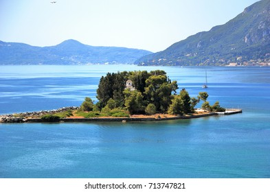The islet of Pontikonisi - Mouse island on Corfu island, Greece.