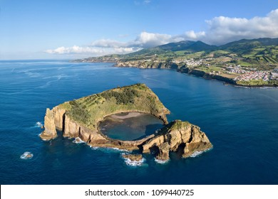 Islet of Vila Franca do Campo, Sao Miguel island, Azores, Portugal (aerial view)