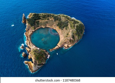 Islet of Vila Franca do Campo - formed by the crater of an old underwater volcano near San Miguel island, Azores, Portugal.