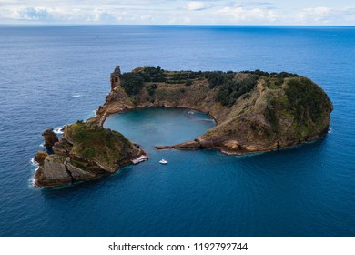 Islet of Vila Franca do Campo formed by the crater of an old underwater volcano near San Miguel island, Azores archipelago, Portugal.