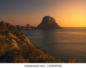 Islets of Es Vedra and Es Vedranell, Ibiza, Spain, at dusk, in summer