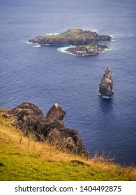 The islets or Motus from the Rano Kao volcano on Easter Island. Rapa Nui culture Chile