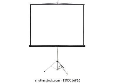 isloated projector screen with blank copy spacei on white backgr