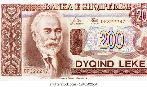 Ismail Qemali portrait from Albanian banknote. 200 Lek (1994) Albanian money.  Albanian Lek is the national currency of Albanian. Close Up UNC Uncirculated -