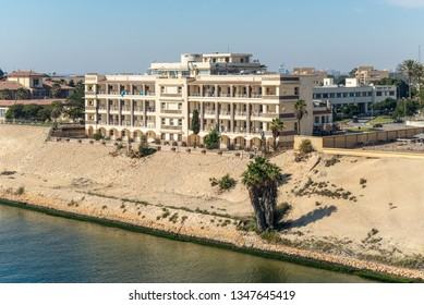 Ismailia, Egypt - November 5, 2017: Building on the banks of the Suez Canal in the city of Ismailia, Egypt (Suez Canal Authority Hospital).