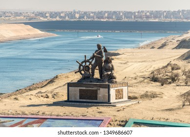 Ismailia, Egypt - November 5, 2017: Suez Canal authority monument at western banks of the new canal on occasion of completion of new Suez Canal construction.