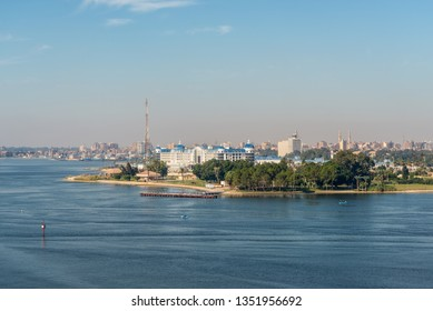 Ismailia, Egypt - November 5, 2017:  Cityscape of Ismailia on the lake Timsah from ship passing Suez Canal, Ismailia, Egypt. Ismailia was founded in 1863, during the construction of the Suez Canal.