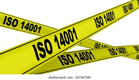 """ISO 14001. Yellow warning tapes. Yellow warning tapes with inscription """"ISO 14001"""". Isolated"""