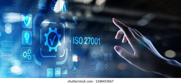 ISO 27001 Quality standards assurance business technology concept.