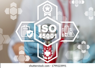 ISO 45001 Medical Safety Health Work Standard Concept.