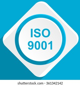 iso 9001 blue flat design modern icon for web and mobile app