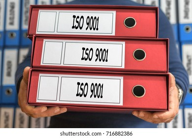 ISO 9001 concept words. Folder concept. Ring binders. Administration.
