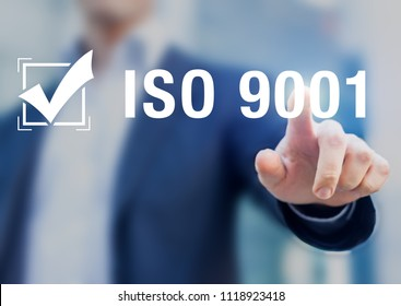 ISO 9001 quality management international standard organization certification with checkbox badge and businessman, certified business, service, industry, system