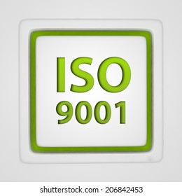 Iso 9001 square icon on white background