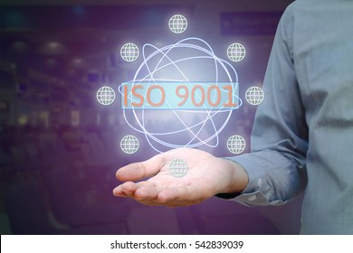 ISO 9001 standard for quality management of organizations with an auditor or manager, business, technology, internet and virtual reality concept.