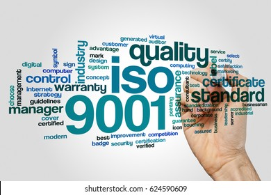 ISO 9001 word cloud concept on grey background