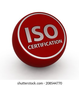 Iso certification circular icon on white background