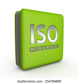 Iso certification square icon on white background