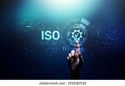 ISO Standard certification standardisation quality control concept on screen.