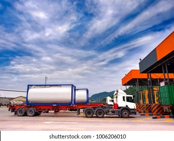 ISO Tanks Container delivery by truck to gate in to container yard for export.