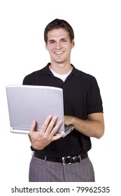 Isoalted Young Businessman working on laptop while standing up
