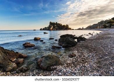 Isola Bella (beautiful island) beach in Taormina, Sicily.